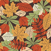 Retro seamless pattern with autumn leaves — Stock Vector