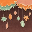 Retro background with autumn leaves — Stock Vector
