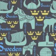 ������, ������: Dark seamless pattern with symbols of Sweden