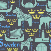 Dark seamless pattern with symbols of Sweden — Stock Vector