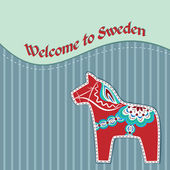 Card with swedish wooden horse — Stock Vector
