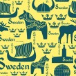 ������, ������: Seamless pattern with symbols of Sweden
