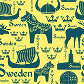 Seamless pattern with symbols of Sweden — Stock Vector