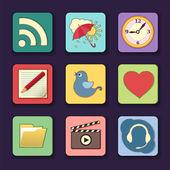 Vector conjunto de iconos de aplicaciones en colores brillantes — Vector de stock