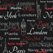 Royalty-Free Stock Vector Image: Black seamless pattern with popular cities