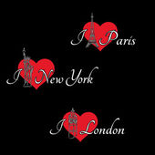 Hearts and London, Paris, New York — Stock Vector