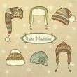Vector set with winter caps — Stock Vector #17680131