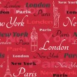 Red vector seamless pattern with cities — Stock Vector