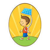 Cartoon boy using solar energy — Stock Vector