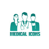 Medical icon with different doctors — Stock Vector