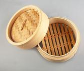 Dumplings bamboo steamer — Stock Photo