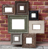 Retro wood photo frame — 图库照片