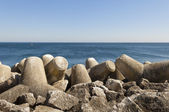 Tetrapod breakwater — Stock Photo