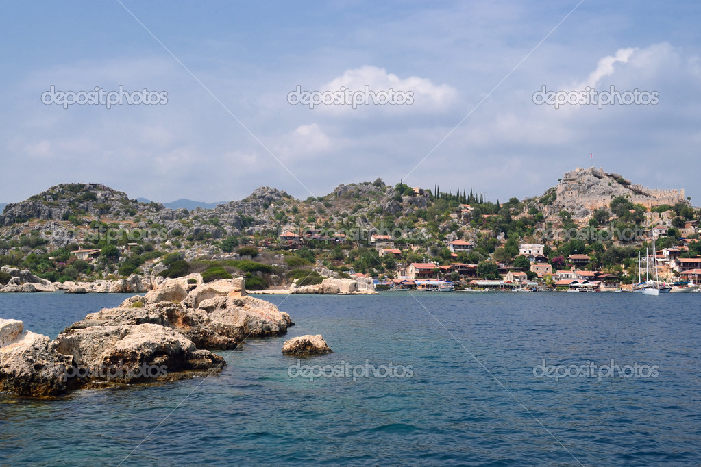 One of beauty spots on the Mediterranean coast line of Kekova in Turkey  Stock Photo #12013635