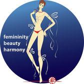 Femininity.beauty.harmony — Stock Vector