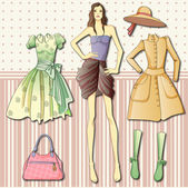 Paper doll with clothes — Stock Vector