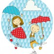 Children under umbrellas — Stock Vector