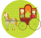 Ride in a carriage — Stockvektor