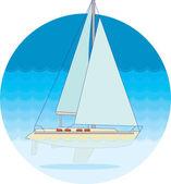Yate en el mar — Vector de stock
