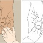 Children's and adult hands — Stock Vector