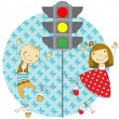 Children and traffic lights — Stock Vector