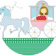 Princess in a pink carriage — Stock Vector