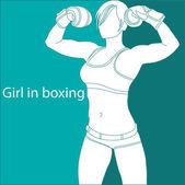 Girl in boxing — Stock Vector