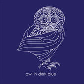 Owl in dark blue — Stockvektor