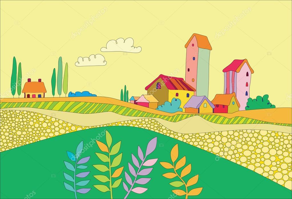 一个小村庄 — 图库矢量图片