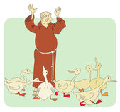 Monk and geese — Stock Vector