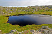 Small tarn on a remote hillside — Stok fotoğraf