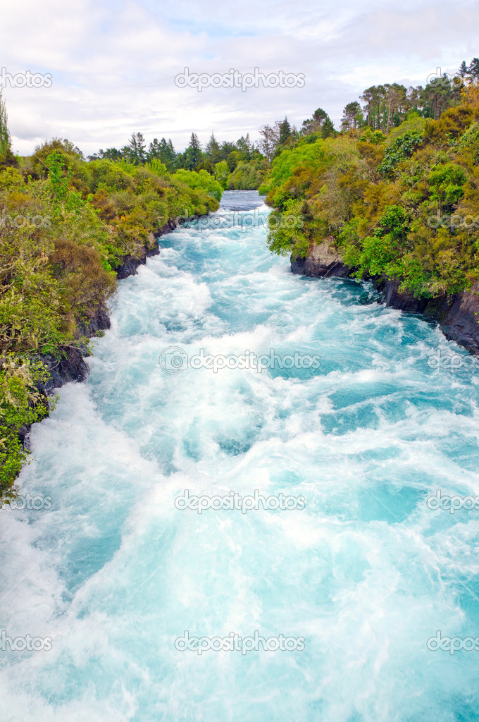 The Waikato River Near Huka Falls in New Zealand  Stock Photo #18113517