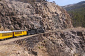 Narrow Gauge Steam Locomotive in the Mountains — Stock Photo