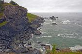 Sis ve bulutlar kıyı kayaların üzerinde — Stok fotoğraf