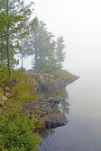 Misty Morning on a Wildereness Lake — Stock Photo