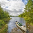 Heading out on a wilderness Lake — Stock Photo