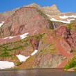 Stock Photo: Red Rocks Over a Mountain Lake