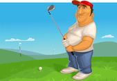 Vector illustration of man playing golf — Stock Vector