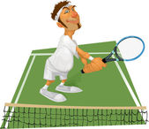 Tennis player on the court — Stock Vector