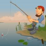 Fishing on the lake — Stock Vector