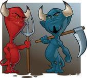 Couple of cartoon demons — Stock Vector