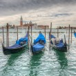 Venetian gondolas on the water HDR — Foto de Stock