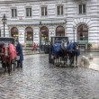 Stock Photo: Fiacres horse cabs on street of Vienna