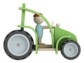 Toy farmer with his tractor — Stock Photo