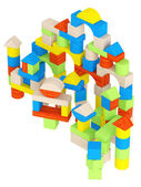 Colourful array of different building blocks — Foto Stock