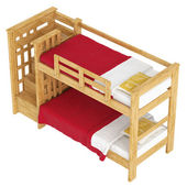 Wooden double bunk bed — Stock Photo