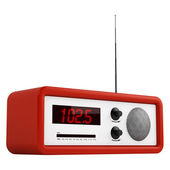 Red portable transistor radio — Stock Photo