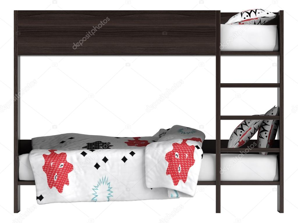 modern bunk bed with bedding