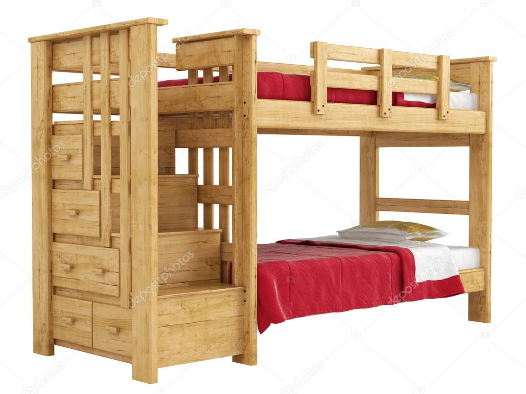 Wooden double bunk bed — Stock Image © Alexander Morozov #
