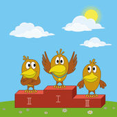 Birds sportsmans on pedestal — Stock Photo